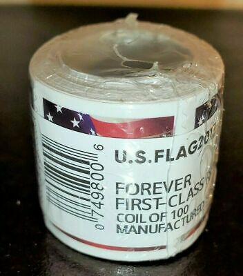 1 ROLL  COIL OF 100 US FLAG NEW FOREVER POSTAGE STAMPS