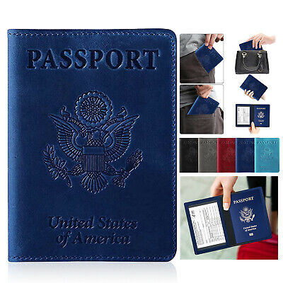 Leather Passport and Vaccine Card Holder Passport Holder Without Vaccine Card US