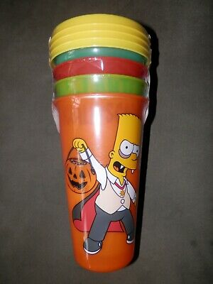 The Simpsons 4-Pack Glow in the Dark 24 oz- Tumblers With Straws Zak