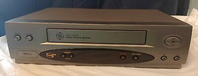 GE VG4054 VCR 4-Head Video Cassette Recorder VHS Player Gray - Tested No Remote