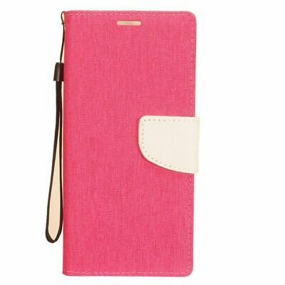 For Samsung Galaxy S20 Ultra Pink White Denim Fabric Case Cover w/stand Lanyard