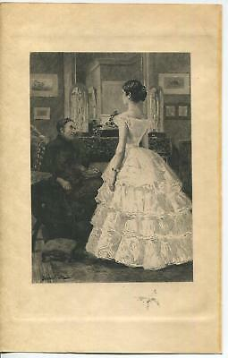 ANTIQUE VICTORIAN GIRL MAID OF HONOR WEDDING MUSLIN DRESS REMARQUE ETCHING PRINT