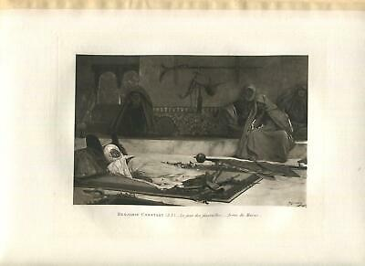 ANTIQUE MOROCCO FUNERAL BURIAL OF A MAN IN HONOR WEAPONS ARCHITECTURE ART PRINT