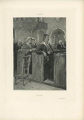 ANTIQUE NAVY SAILOR MILITARY WOUNDED MAN CHURCH PEW A HERO HONOR SHIP ART PRINT