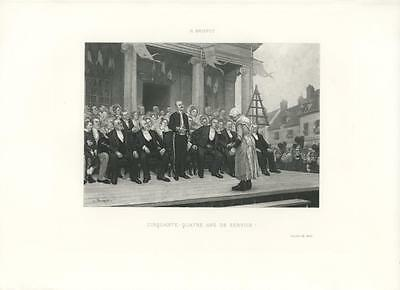 ANTIQUE HUMBLE WOMAN RECEIVING AN AWARD HONOR FOR FIFTY FOUR YEARS SERVICE PRINT
