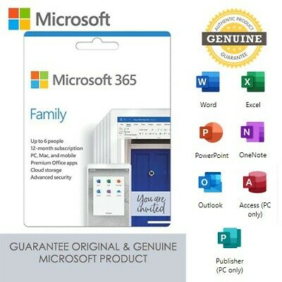 NEW Microsoft Office 365 Family Home For Use on up to 6 Devices - Key Card