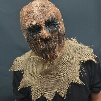 Scarecrow Halloween Costume Mask Latex - Burlap Realistic Scary Scare crow Mask