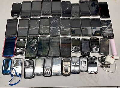 LOT OF 40 PHONES IPHONE SAMSUNG LG UMX other SEE PICS FOR SALVAGE PARTS