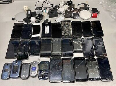 LOT OF 28 PHONES iPHONES SAMSUNG LG UMX other SEE PICS FOR SALVAGE PARTS