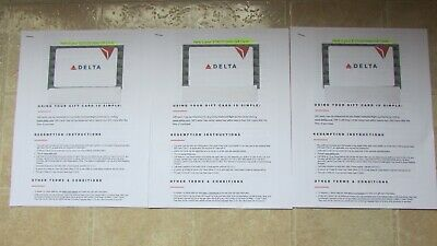 450-00 DELTA E GIFT  CARDS  2x 100-00- 1 X 250-00 - 450-00 TOTAL