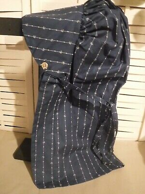 Primitive bonnet prairie cabin tea stained navy with white line print
