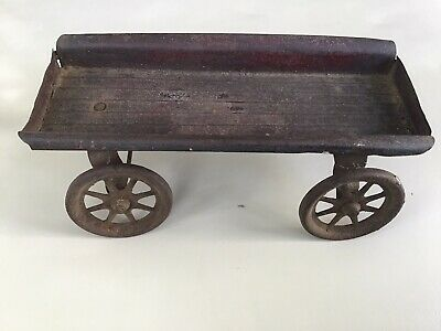 ANTIQUE Primitive TIN TOY WAGON Metal WAGON FADED RED