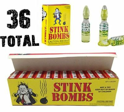 36 Stink Bombs - Stinky Glass Gag Prank Fart Joke 1 case of 36