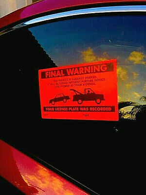 50 REAL VIOLATIONS FINAL WARNING NO PARKING VIOLATION SIGN WINDOW STICKERS