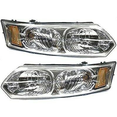 Headlight Set For 2003-2007 Saturn Ion Left and Right Halogen With Bulb 2Pc