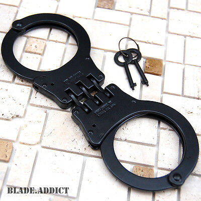 Professional Double Lock Black Steel Hinged Police Handcuffs w Keys Real EDC