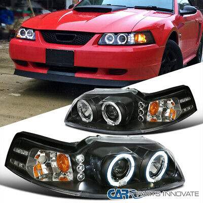 Ford 99-04 Mustang Replacement Black LED Halo Projector Headlights Head Lamps