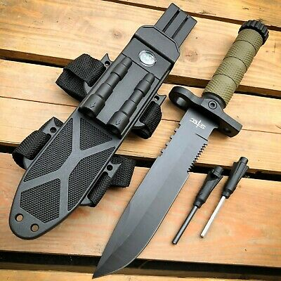 12-5 MILITARY TACTICAL Hunting FIXED BLADE SURVIVAL Knife w Fire Starter Army