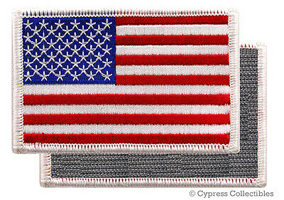 AMERICAN FLAG EMBROIDERED PATCH WHITE BORDER USA US w VELCRO® Brand Fastener