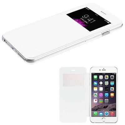 WHITE Flip Leather Wallet Window View Case Skin Cover Apple iPhone 6 - 6 PLUS