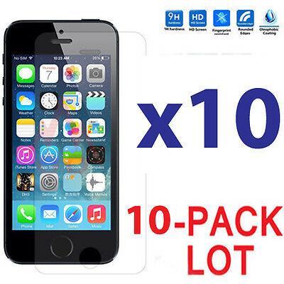 10x Wholesale Lot Tempered Glass Screen Protector for Apple iPhone 55C5S