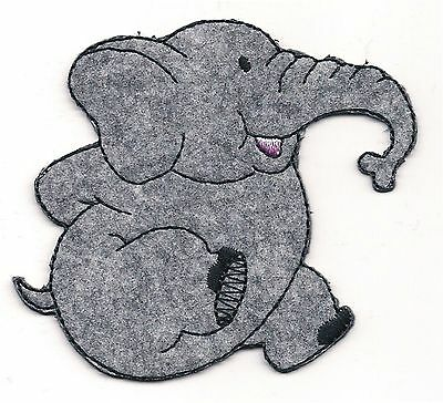 2 34 Cute Gray Sitting Elephant Embroidery Patch