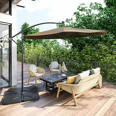 10 Ft Hanging Umbrella Patio Sun Shade Offset Outdoor UV Resistant w  Base Tan