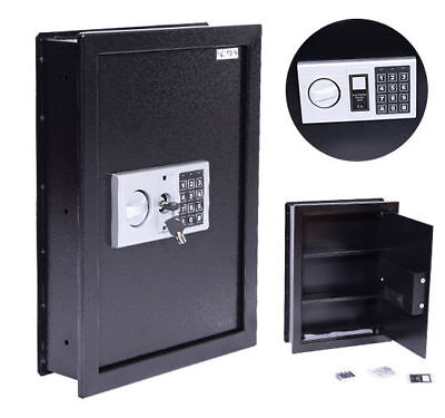 HOMCOM Digital Flat Recessed Wall Safe Electronic Home Office Security - Black