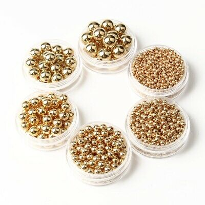 400Pcs gold and silver Metal Round Ball Spacer Beads For Jewelry Colorful2-4-8mm