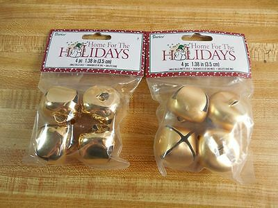 New of 8 GOLD JINGLE BELLS 1 12 35mm GLOSS or MATTE  DIY Crafts  Christmas