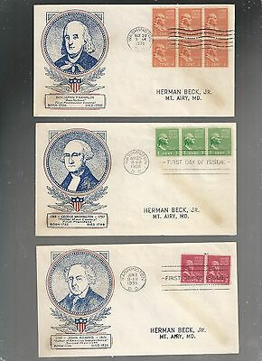 US FDC FIRST DAY COVERS PRESIDENTS SERIES    1938   LOT OF 6