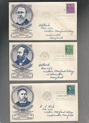US FDC FIRST DAY COVERS PRESIDENTS SERIES    1938   LOT OF 3