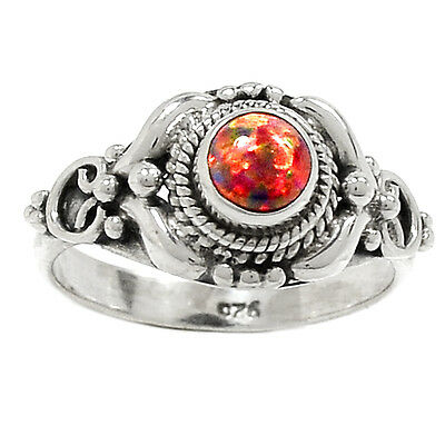 Fire Opal 925 Sterling Silver Ring Jewelry s-6 RR17824