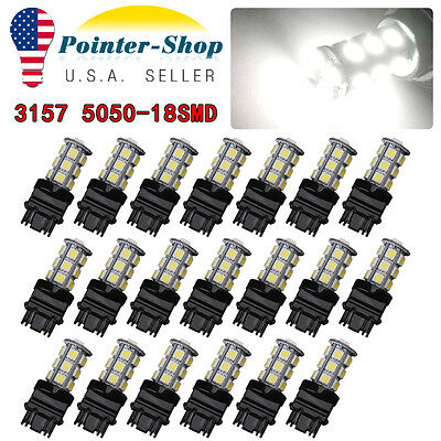 20x 3157 3156 White 5050 18-LED Tail Brake Stop Backup Reverse LED Light Bulbs