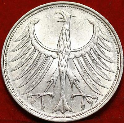 Uncirculated 1963 Germany 5 Mark Foreign Silver Coin Free SH