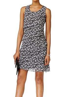 Jessica Howard NEW Black Womens Size 4P Petite Tiered Floral Dress 79 148