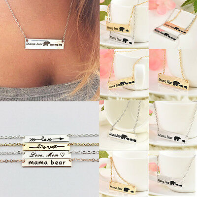 Vintage Women Engraved Mama Bear Bar Pendant Necklace Mothers Day Jewelry Gift