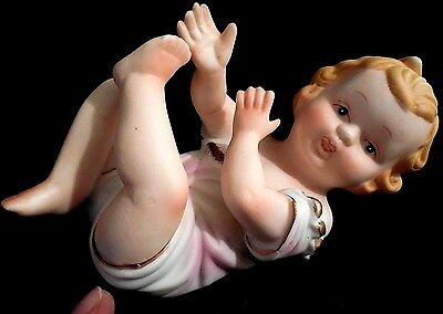 VINTAGE UNMARKED 5 12 GIRL PIANO BABY PORCELAIN GERMANY FIGURINE