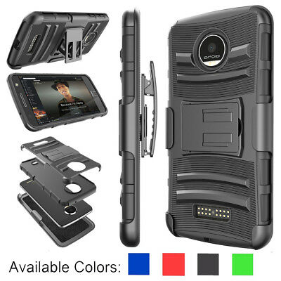 For Motorola Moto Z Play  Force Droid Armor Belt Clip Holster Phone Case Cover