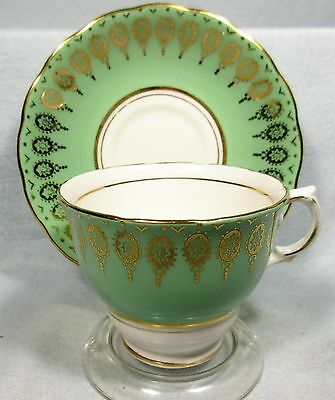 PRETTY GREEN COLCLOUGH CUP - SAUCER GOLD GILDING BONE CHINA FLORAL