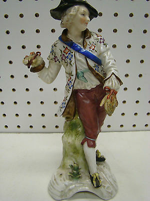 Antique Hand painted Sitzendorf Porcelain Man with Pipe 8-75in