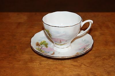Cup and Saucer - COLCLOUGH - Mountain and Sailboat Scene