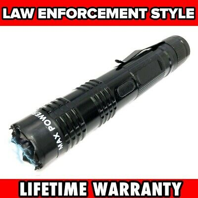 BLACK Defense Metal Stun Gun 16 Million Volt Rechargeable LED Flashlight New