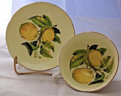 Royal Grafton Bone China Yellow and Fruit Center Tea Cup and Saucer Numbered