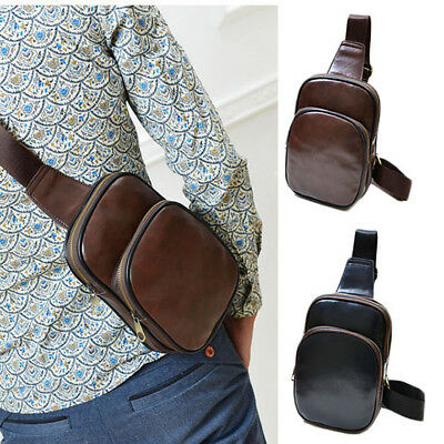 Mens Leather Chest Cycle Sling Pack Satchel Shoulder Bag Small Day Packs Purse