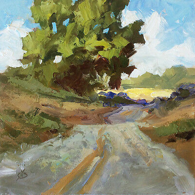 COUNTRY ROAD LANDSCAPE ORIGINAL IMPRESSIONIST OIL PAINTING by TOM BROWN