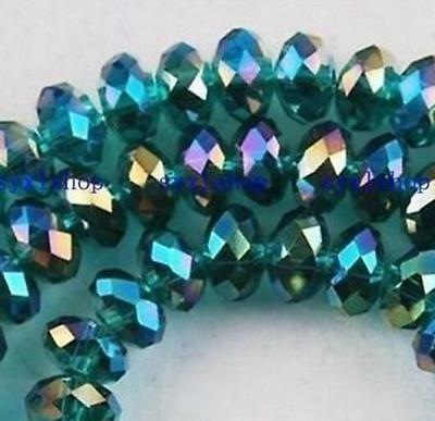 8 mm 70 pcs Faceted Rondelle Bicone Crystal Jewelry Beads AB peacock-green