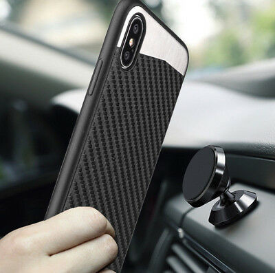iPhone X  XS  10S - Magnetic Backplate BLACK Carbon Fiber Rubber Case Cover