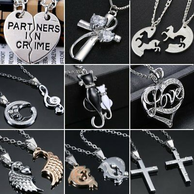 Mothers Day MOM Gift Stainless Steel Couple Cat Letter Love Pendant Necklaces