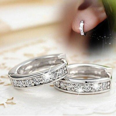 White Gold Filled CZ Stud Earrings Hoop Women Jewelry Mothers Day Party Gift